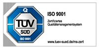 Wir sind TÜV-zertifiziert, ISO 9001 Siegel